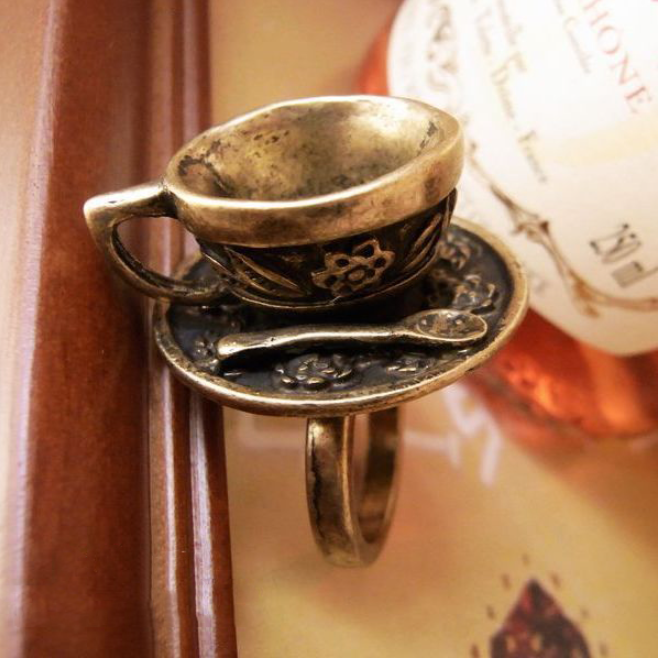 Coffee Cup Decorated Finger Ring Glamorize Yourself