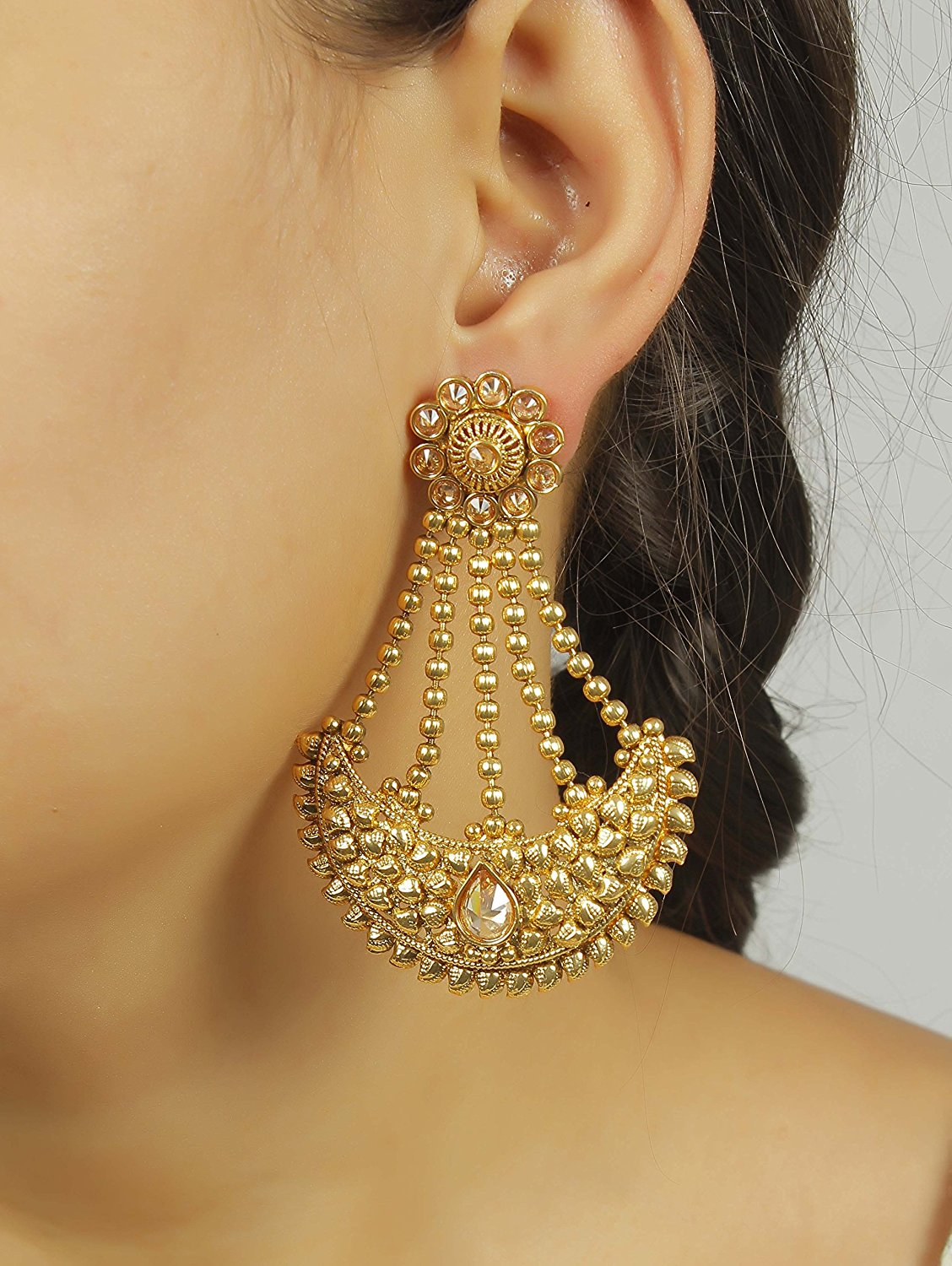 light weight amp long party wear indian polki jhumka