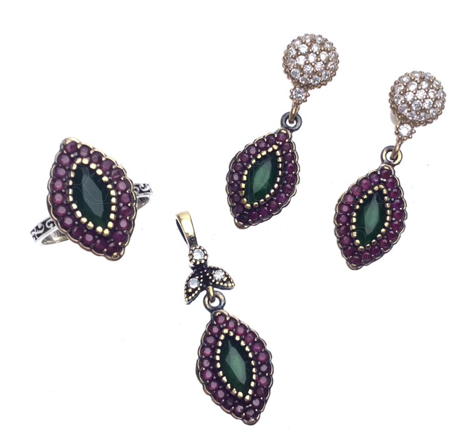 Classic Antique Marquise -Shaped Sterling Silver Turkish Jewelry Set