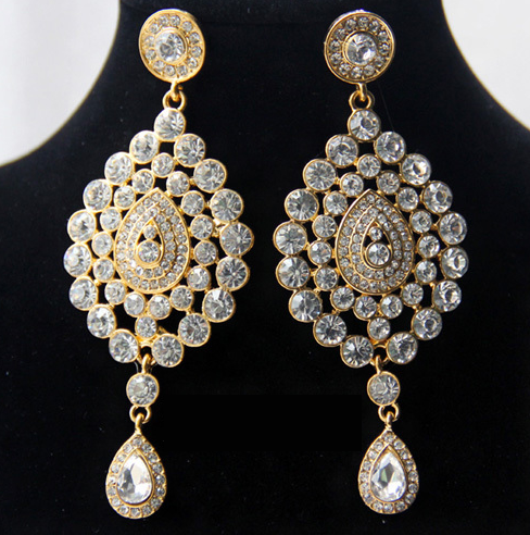 High End Alloy Based Elegant Indian Bali Jhumkas Drop Earrings Bollywood Style Ethnic Traditional Vintage Jewelry For Wedding Bridal Party Wear