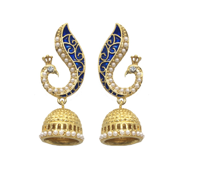 High End Alloy Based Party Wear Pea Design Elegant Indian Jhumka Earrings Bollywood Style Ethnic Traditional Vintage Jewelry Wedding Bridal For