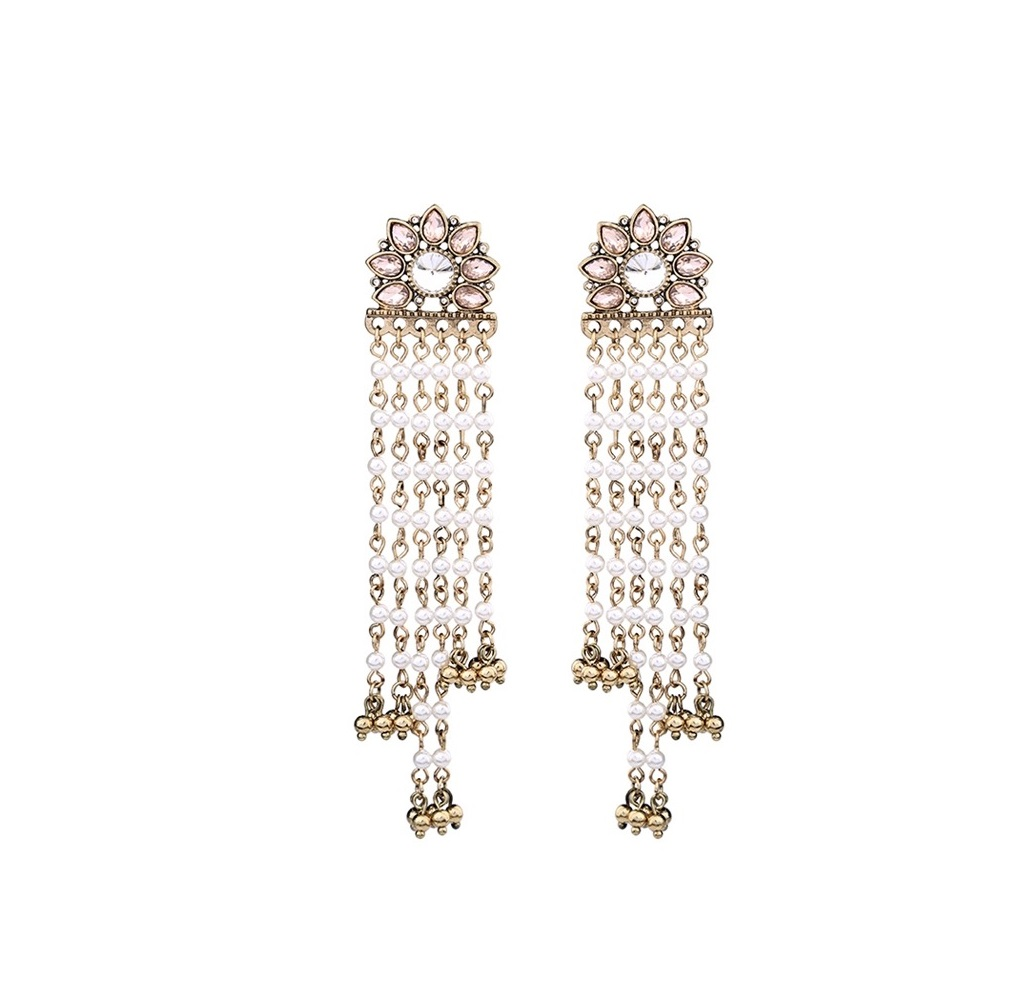 High End Alloy Based Party Wear Elegant Long Tel Indian Bali Jhumkas Bollywood Style Ethnic Traditional Jewelry Wedding Bridal For Women