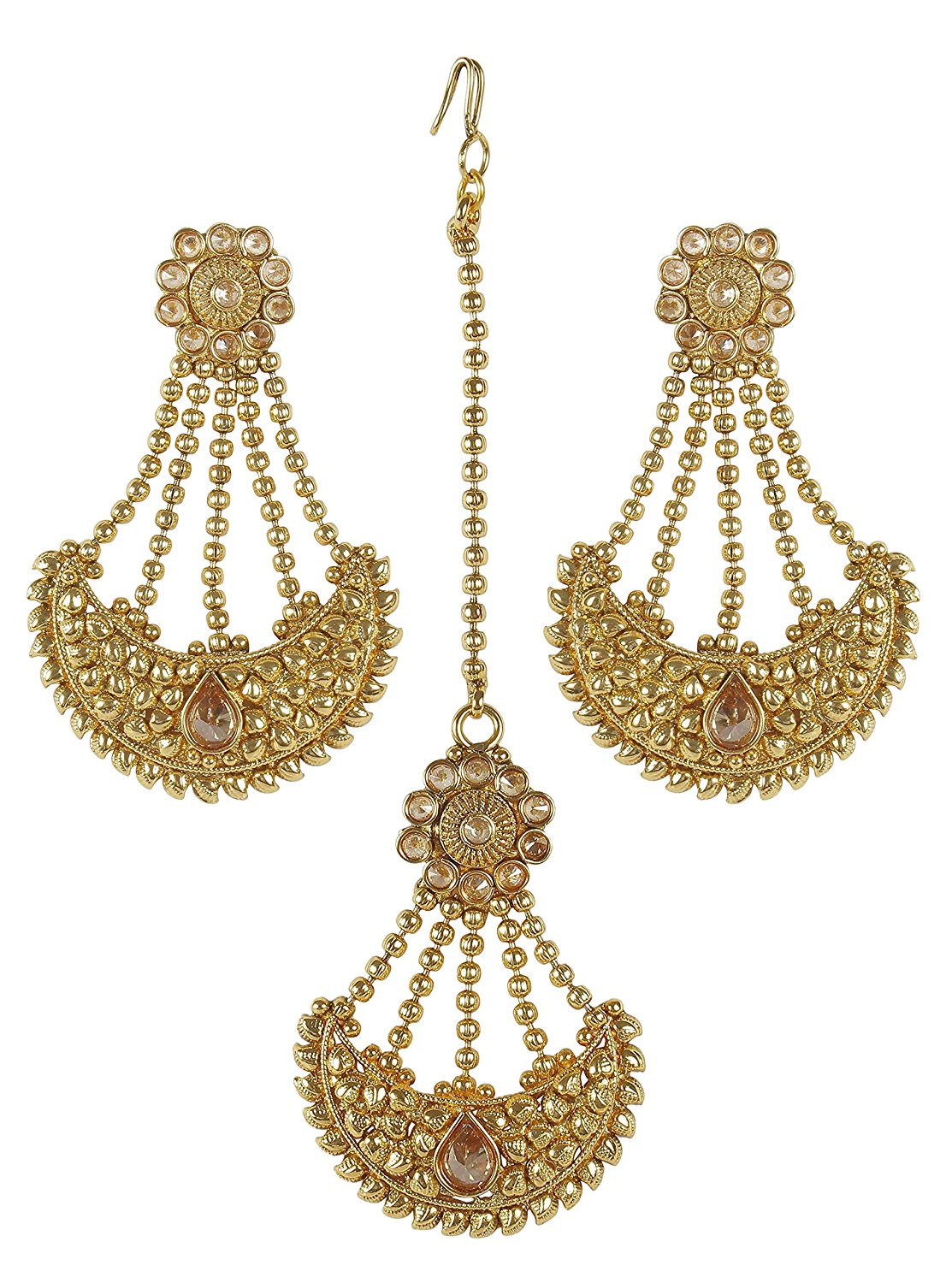 Light Weight Long Party Wear Indian Polki Jhumka Earringaang Tikka Bali Bohemia Drop Dangle Bollywood Style Jewelry For Wedding Bridal