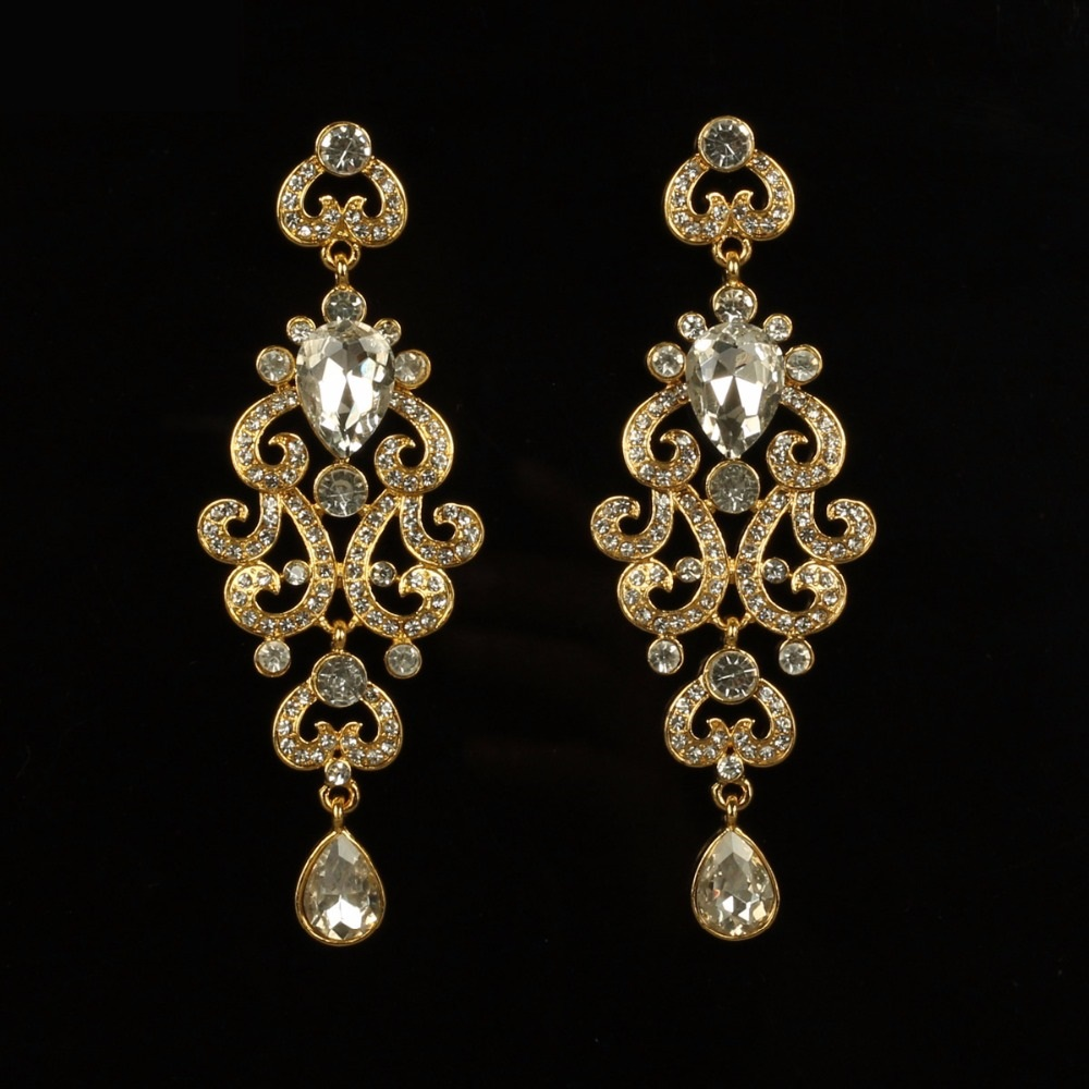 Long Royal Golden Crystal Drop Earrings For Women